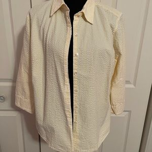 """L.L Bean button up 3/4"""" sleeves top large"""